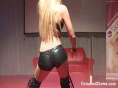 Delicious blonde stripping and dancing dirty