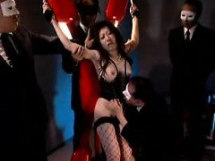 Helpless Japanese lady in fishnet stockings gets her snatch