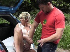 Facialized Milf With Bigtits Giving Handjob