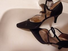 Piss in wifes black strappy high heels