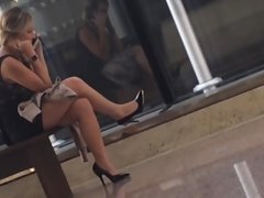 Candid Sexy Feet and Legs in Nylons on Phone No Dangling