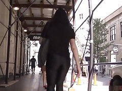 Black leggings on the street