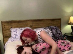 Chubby woman wears strapon n fucks tight redhead shemale