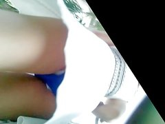 Boso Upskirt Hot chic in blue Panty w faceshot