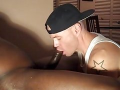 BBC sucker takes the load in his mouth and swallows CIM