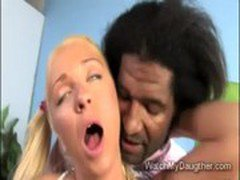 Jaelyn Fox fucks black dude in front of daddy