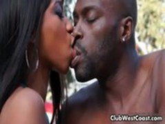 Horny black couple by the pool warming
