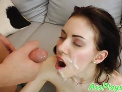 Petite maid anally banged on the couch