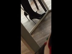 She puts on her just cum heels (A tight timing)