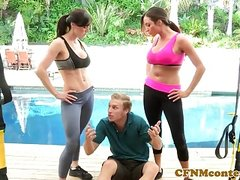 CFNM yoga babes submit peeping tom into trio