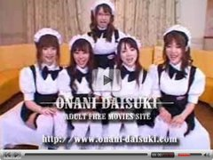 5 Japanese maid girls cosplay fuck