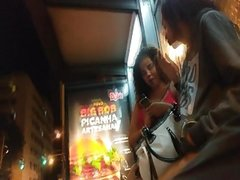 Candid teen feet flip flops subway and foot in bus stop