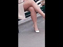 #17 Elegant woman with sexy legs in pantyhose and high heels