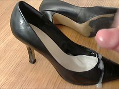Black Leather Pumps Fuck and Cum