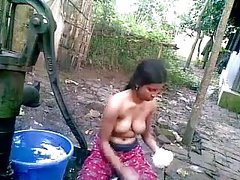 Indian teen outdoor bath
