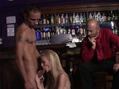 Barman fucks my blonde wife for money