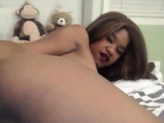 Perfect ebony girl with long tongue loves roleplay