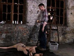 Tv porno gay bondage Chained to the warehouse floor and unab