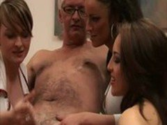 Hot babes pull old man cock for him
