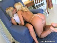 Super hot blonde lesbian babes enjoy