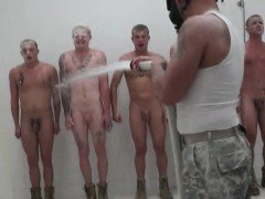 Ginger army hunk tops black ass in the shower