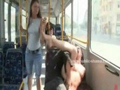 Teen babe bound naked on the bus