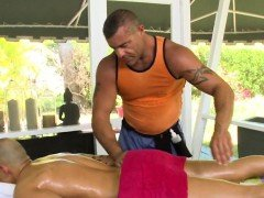 Hairy chap gets a lusty anal spooning from massage therapist