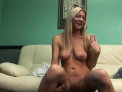 Desirable blonde plays around with her cunt