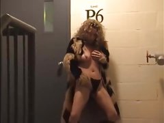 Lady flashing in parking garage staircase