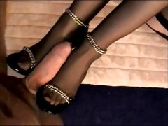 Stocking footjob with cum on feet and heels