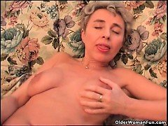 pretty blonde woman with electric self-massage