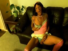 Tranny Smoking, Stroking, and Self Facial