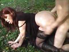 hot milf and young boy in outdoor fuck
