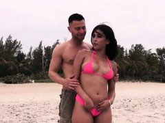 Hot Latina showers on the beach with bf