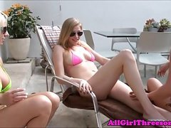 Strapon lezzie having fun in lesbian threeway