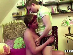 Young Boy Seduce MILF Step-Mom to get his First Fuck