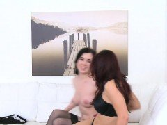 Cute teen in lingerie licks female agent