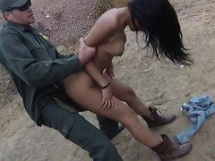 Latina teen girl rides on the hard cock of BP officer