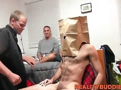 Masked dude gets his dick sucked by bunch of horny dudes