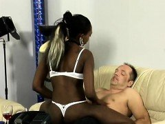 Slutty amateur ebony babe sucks white dick