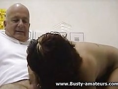 Busty amateur Drew sucking old mans cock