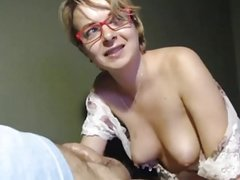 Blonde nerdy wife suck off her hubby