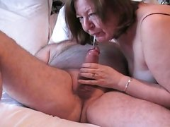 Clare wanks john off in her mouth