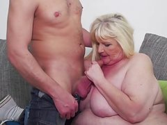 BBW granny eats young cum after sex