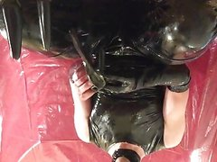 Wet and messy with eggs leather pants and shiny shirt IV