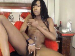 Stunning ebony squirter masturbates and squirts black pussy