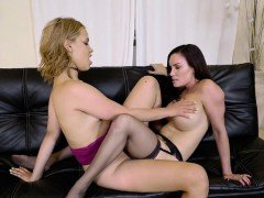 Blonde and brunette shares one dildo