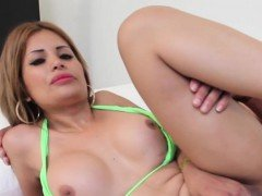 Latina bikini tgirl pounded after giving head