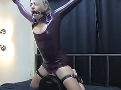 Girl In Latex Bound On Sybian