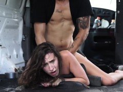 Ashley Adams tied up and fucked in the back of the van